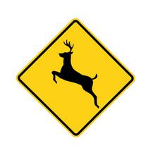 Road Sign - Deer Crossing, Bla...