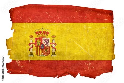 Photo Spain Flag old, isolated on white background