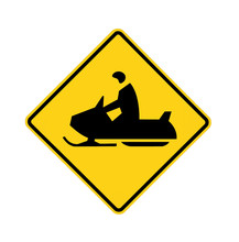 Road Sign - Snowmobiler White ...