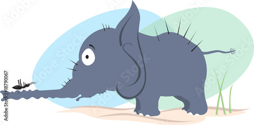 Illustration of an elephant looking to an ant