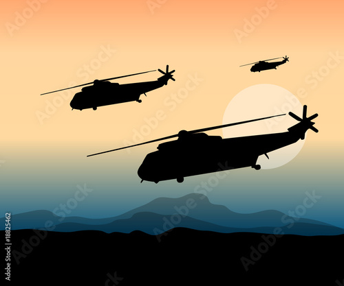 Poster Militaire war action at the front with helicopters