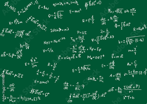 Photo  Blackboard with physical formula - vector illustration