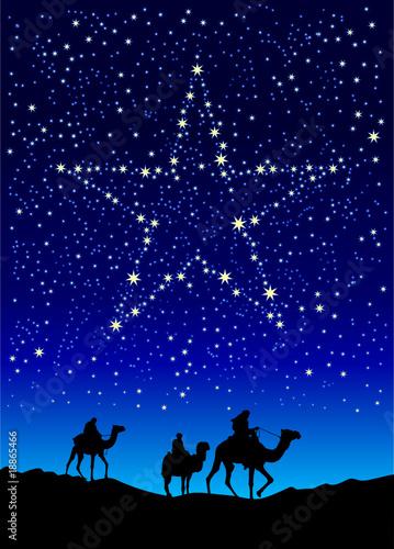 Canvas Print christmas star on sky