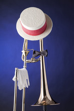 Trombone Hat Bow Tie Isolated ...
