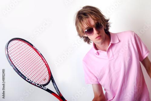 Fotografie, Obraz  Modèle joueur de tennis en studio