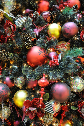 Fototapety, obrazy: Christmas ornaments on tree