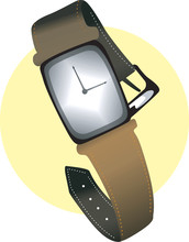 Illustration Of White Dial Wrist Watch With Leather Strap