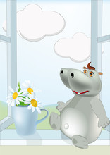 Sunny Day A Hippopotamus And C...