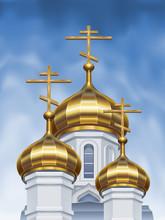 Vector Russian Orthodox Church Cupolas