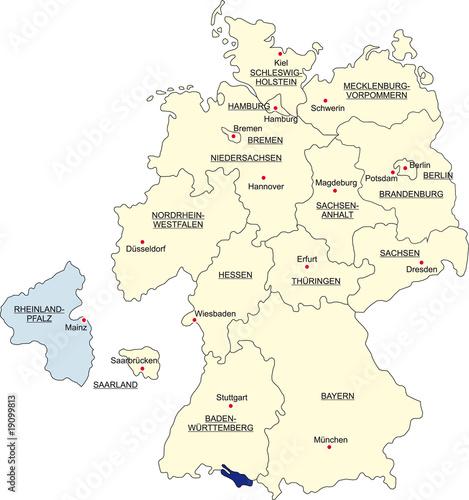 Karte Bundesrepublik Deutschland Rheinland Pfalz Freigestellt