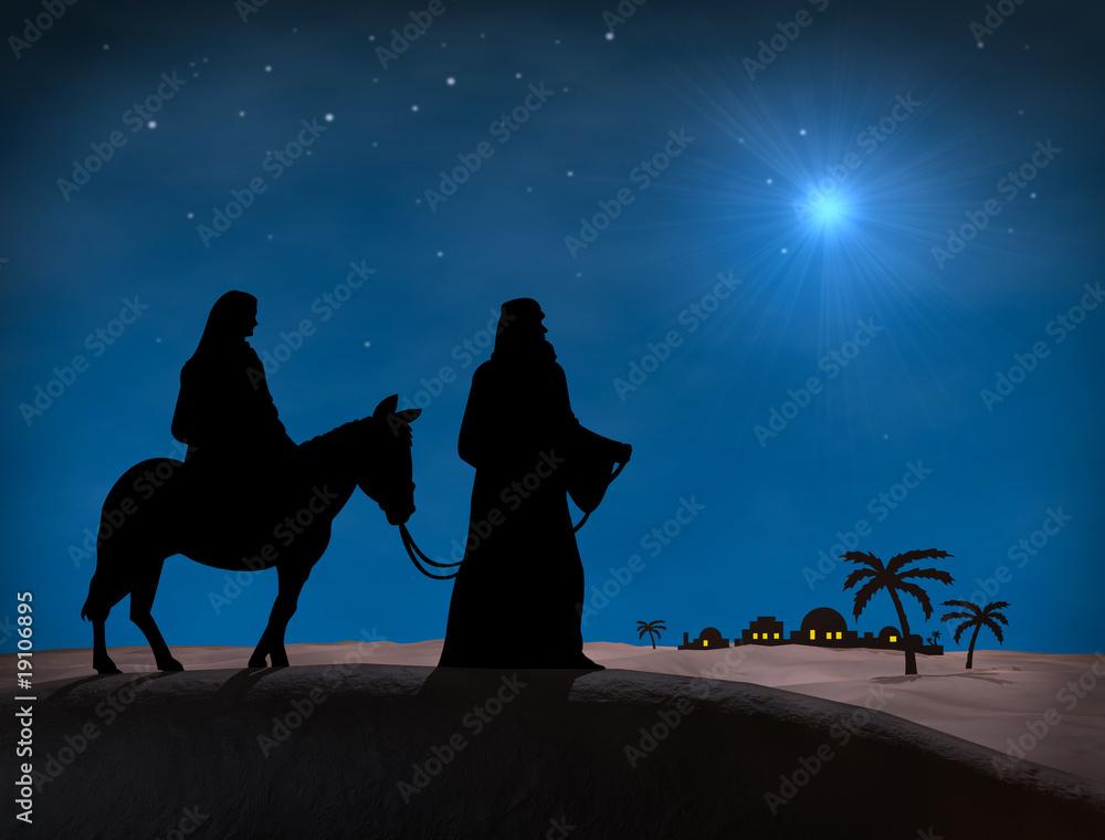 Bethlehem Weihnachten Sterne Im Nachthimmel Uber Maria Und Josef
