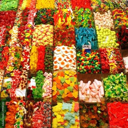 Fotobehang Snoepjes Auslage eines Süßwarenhändlers