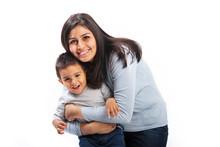 Happy Mom Hugging Son