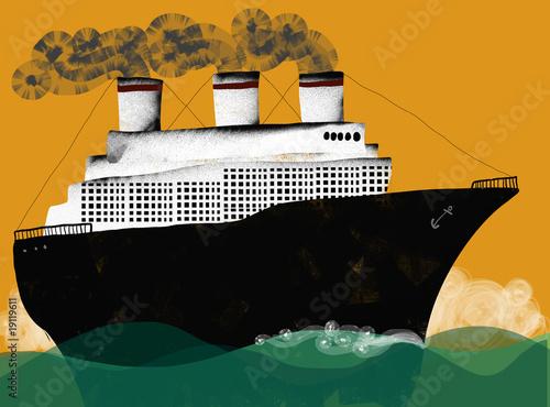 Fotografie, Obraz  Old transatlantic sailing