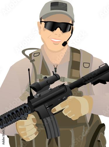Deurstickers Militair USA Private Military Contractor in desert unoform