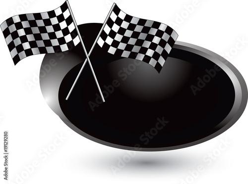 Foto op Plexiglas F1 checkered flags silver swoosh