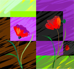Obraz na PlexiDigital painting of plant and flower