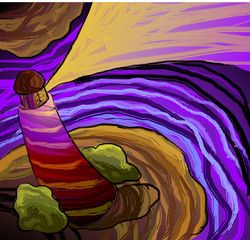 NaklejkaDigital painting of light house