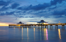 Fort Myers Pier At Sunset, Florida USA