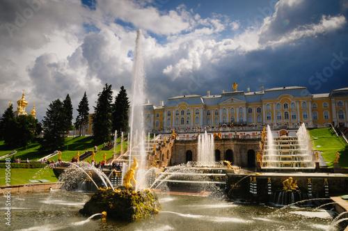 Fotobehang Volle maan Fountains of Petergof