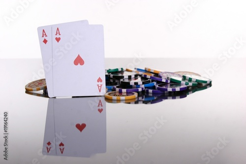 Photo rote Asse Poker Chips