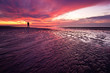 canvas print picture Sunset on the beach in the Netherlands