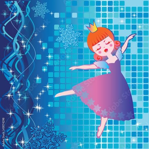 Poster Kasteel Dancing beautiful princess. Fairy-tale.