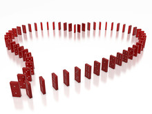 Red Domino Objects Compose In Heart Shape