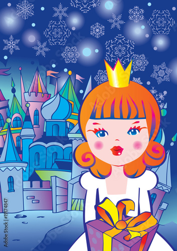 Poster Castle Beautiful princess with gift. Fairy-tale.