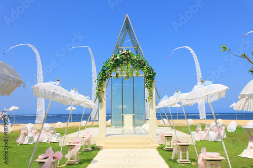 Canvas wedding chapel by the sea