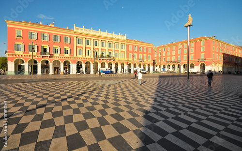 Photo Stands Nice Plaza Massena Square in the city of Nice, France