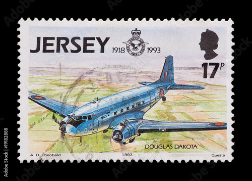 Photo  Jersey mail stamp featuring a vintage R.A.F Dakota DC-3