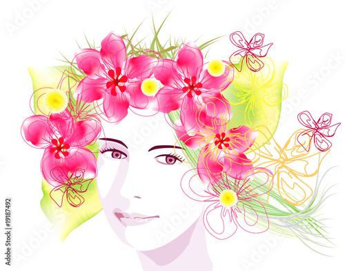 vector spring girl