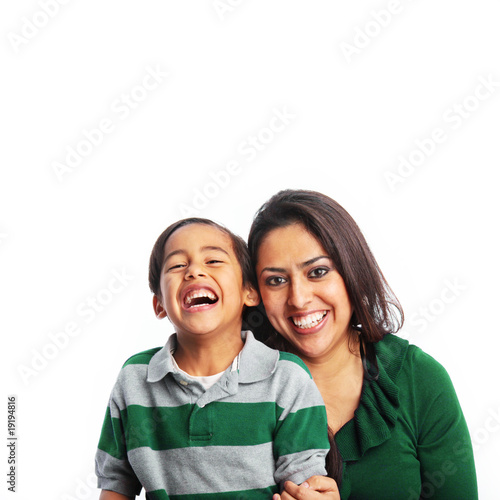 Fotografie, Obraz  Happy mother and son laughing dressed in green