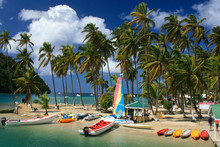 Tropical Beach On Marigot Bay-...