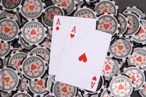 Fotografie, Obraz  rote Asse Poker Chips