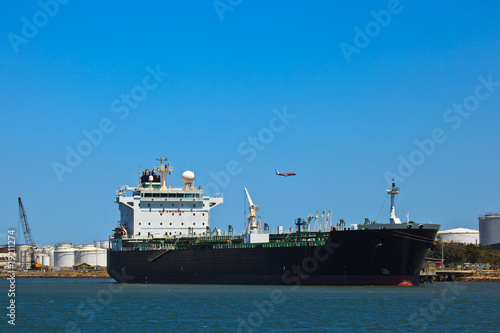 Oil Tanker Docked in Brisbane Harbor