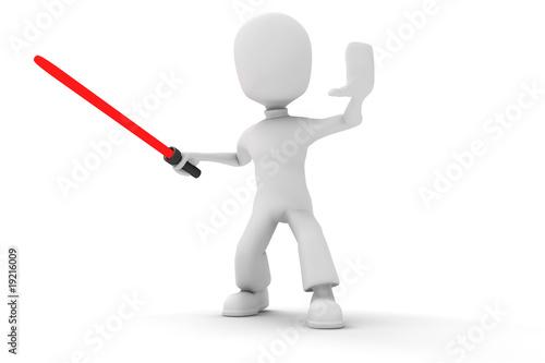 Photo 3d man holding a light saber