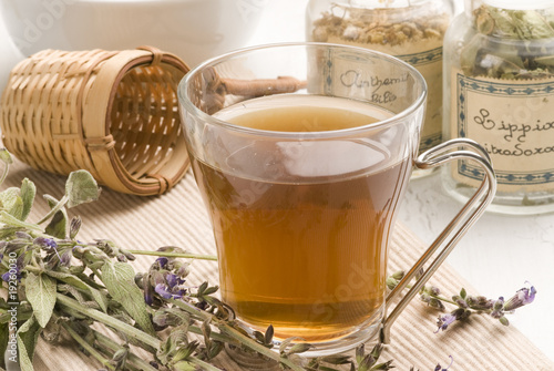 Photo  Herbal tea. Lavender.
