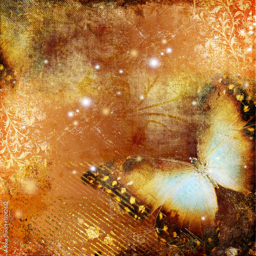 Photo sur Toile Papillons dans Grunge artwork with butterfly