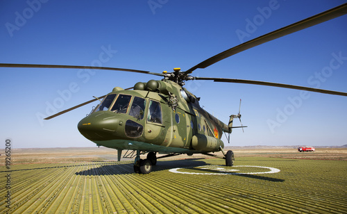 Tuinposter Helicopter The russian military helicopter