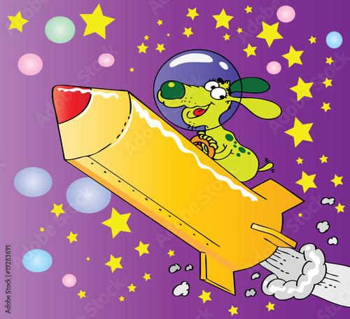 Foto op Canvas Kosmos Funny cartoon space dog