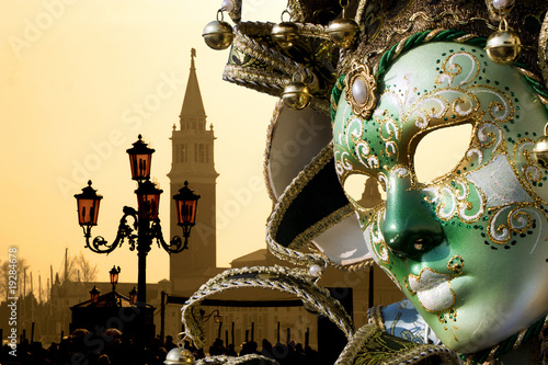 mask from venice carnival and san giorgio church Canvas Print