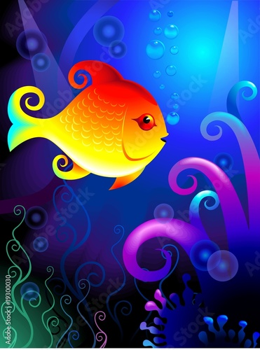 Foto-Stoff - Illustration of a golden color fish underwater (von vishnukumar)