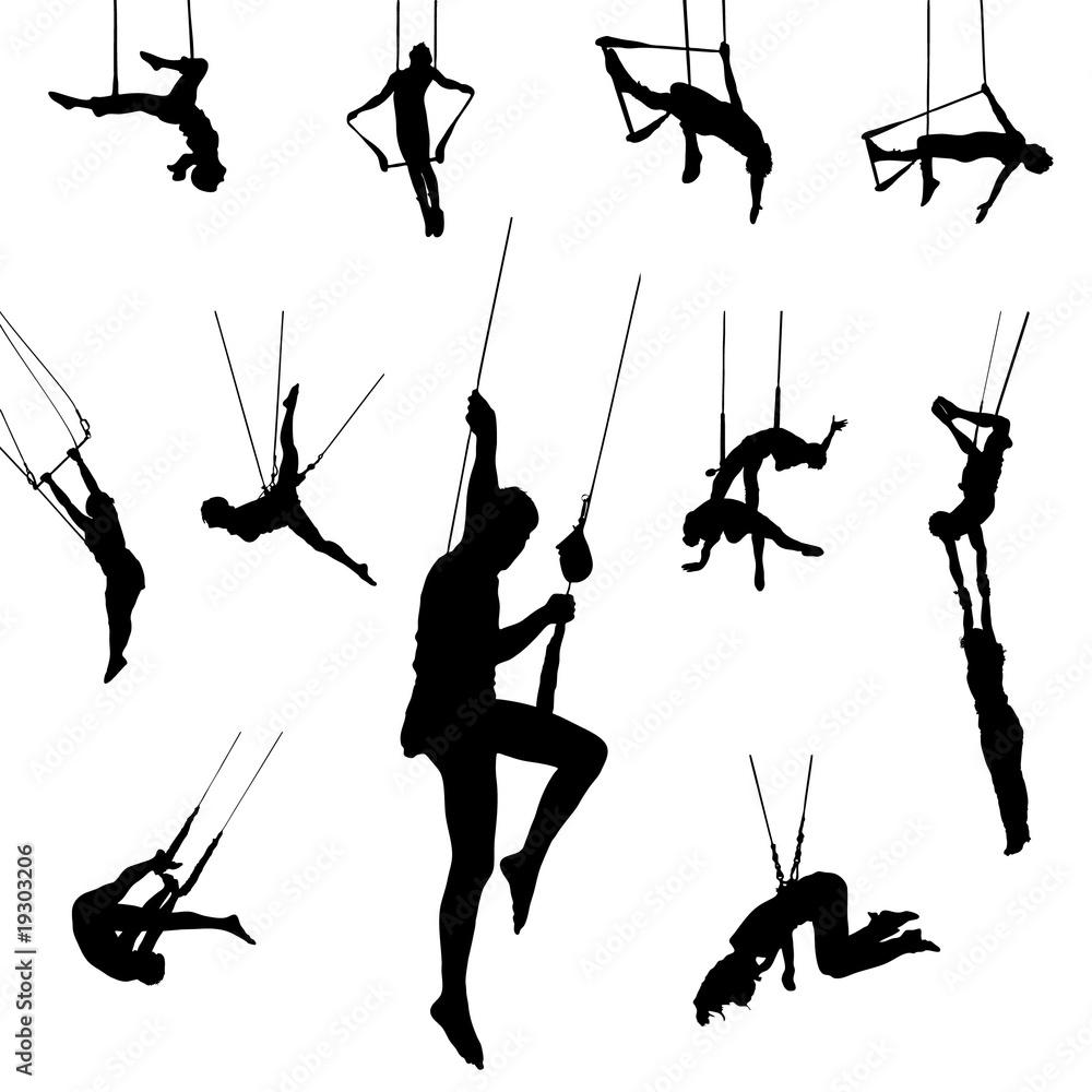 ausmalbilder zirkus trapez  zeichnen und färben