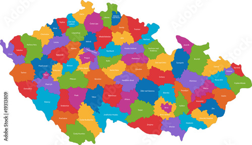 Fotografie, Tablou  Map of administrative divisions of the Czech Republic
