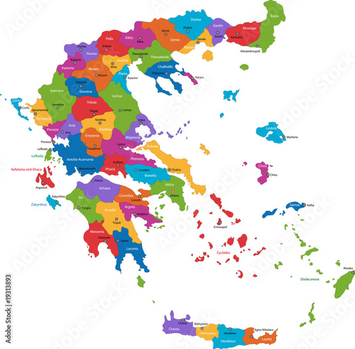 Canvas Print Map of administrative divisions of Greece