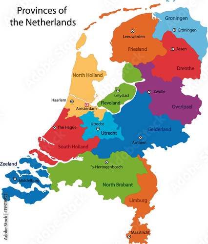 Canvas Print Map of administrative divisions of Netherlands