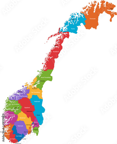 Fototapeta Map of administrative divisions of Norway