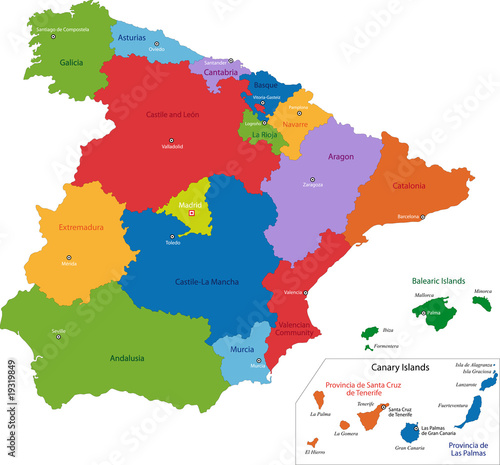 Map Of Spain With Regions.Colorful Spain Map With Regions And Main Cities Buy This Stock
